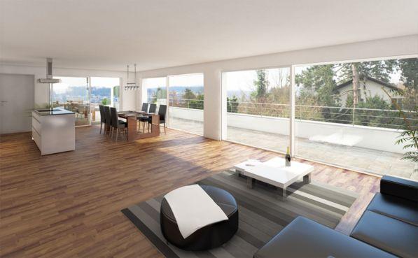 Wohn/Esszimmer mit Dachterrasse