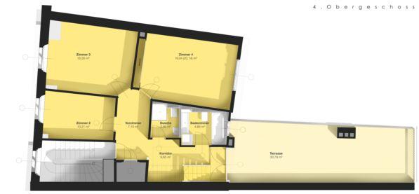 Grundrissplan 4. Stock Maisonette-Dachwohnung
