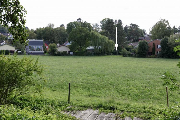 Baulandparzelle Gartenseite
