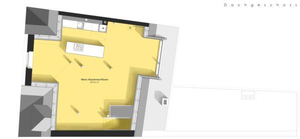 Grundrissplan Dachgeschoss Maisonette-Wohnung